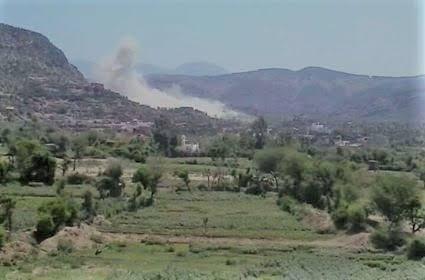 قصف الحوثيين على قرية الحيمة شرق تعز