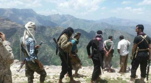 افراد من المقاومة المحلية في قرية الحيمة المحاصرة شرق تعز