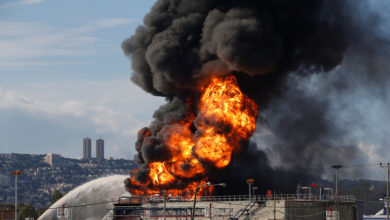 صورة إصابة خط أنابيب الوقود بين إيلات وعسقلان بهجوم صاروخي من قطاع غزة