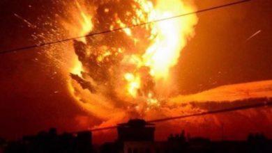 صورة بيان عاجل للتحالف العربي بقيادة السعودية حول القصف على صنعاء ويكشف سبب الانفجارات والحرائق الهائلة المستمرة حتى الان
