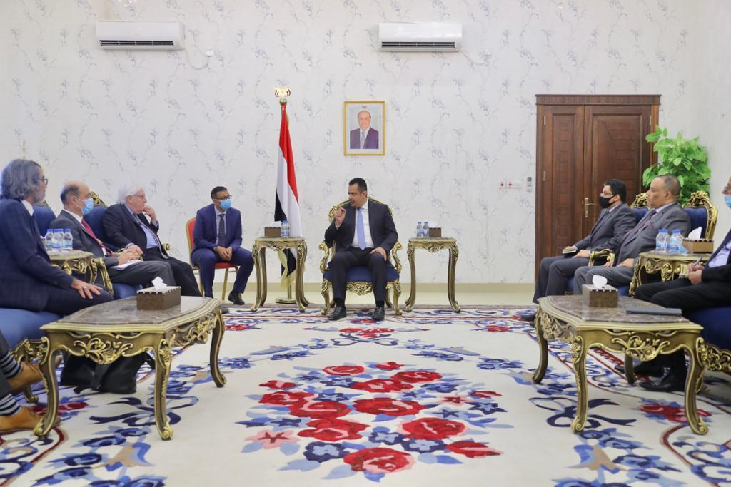 رئيس الحكومة اليمنية يستقبل المبعوث الاممي مارتن غريفيث في عدن