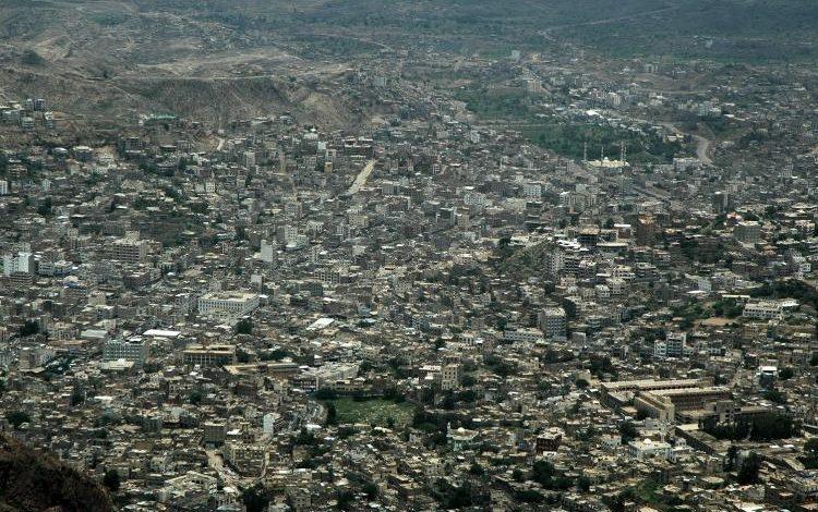 منظر عام لمدينة تعز وسط اليمن