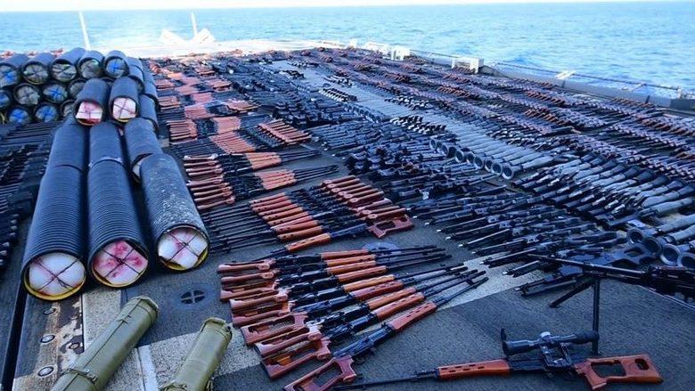 صورة البنتاغون يكشف سر شحنة الأسلحة الضخمة التي تم ضبطها في البحر ومن اين جاءت وأين وجهتها؟