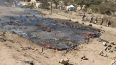 صورة انفجار طائرة مفخخة فوق معسكر جنوب تعز