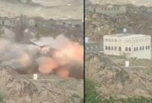 صورة شاهد بالفيديو.. مليشيا الحوثي تنفذ حملة انتقام واسعة في الزاهر وتفجر منازل معارضيها في البيضاء