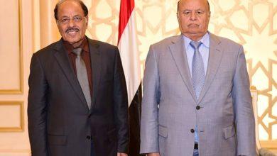 صورة وجها فساد وفشل الشرعية.. هنيئاً للحوثي بهادي ومحسن!